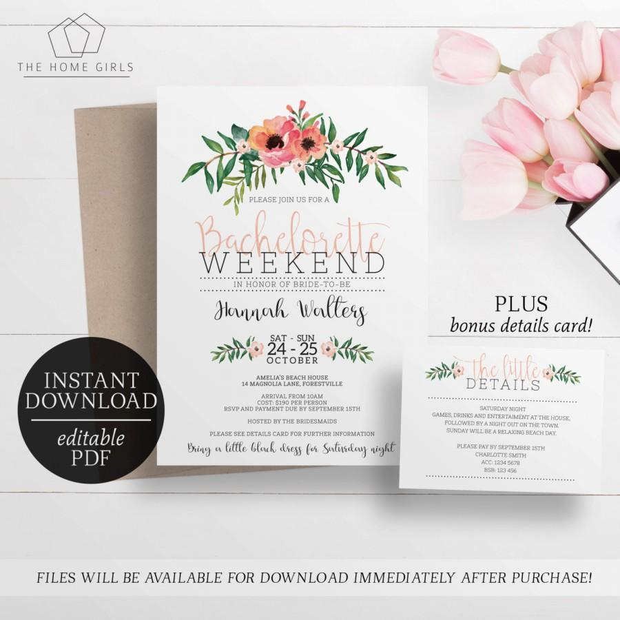 printable bachelorette weekend invitation editable template bachelorette party invitation floral watercolour flowers pink - Printable Bachelorette Party Invitations