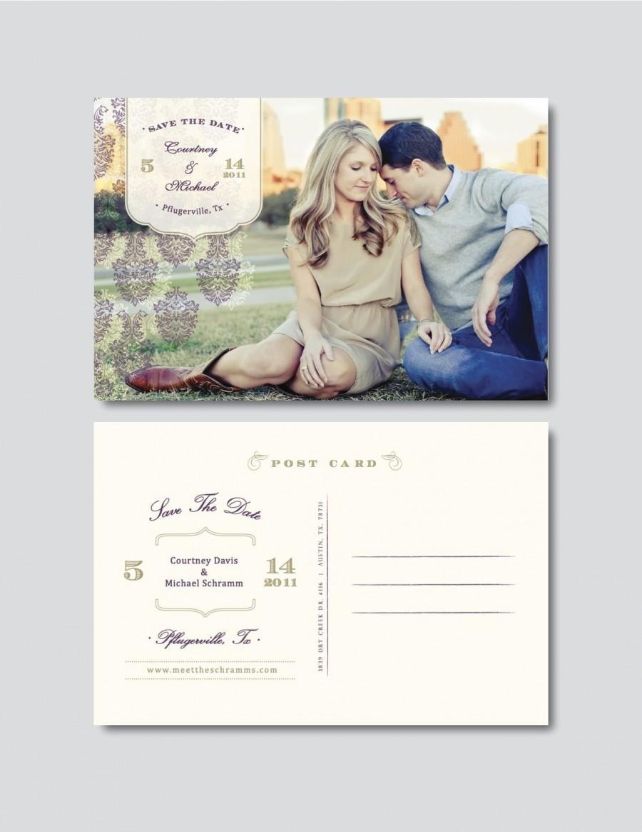Vintage save the date postcard template psd digital for Save the date templates free download