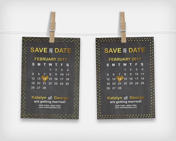 "Hochzeit - Printable Save the Date Calendar Card, Wedding Date Announcement, Chalkboard and Gold, 5x7"" - Digital File, DIY Print"