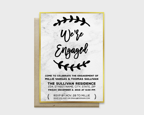 "Wedding - Modern Marble Engagement Party Invitation Card, We're Engaged - Marble Background with Gold or Silver Edge, 5x7"" - Digital File, DIY Print"