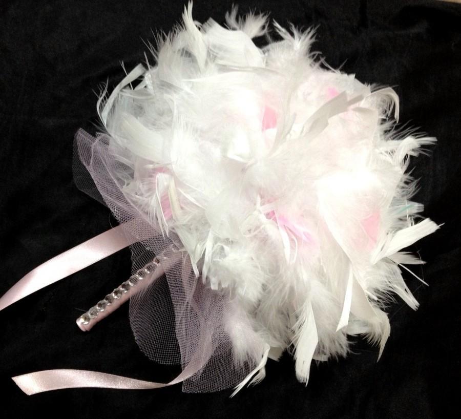 Свадьба - CUSTOM COLORS Feather Wedding Bouquet - Bridesmaid Pomander Ivory White Light Pink Feathers Crystal Accents - Bridesmaid Pomanders Bouquets