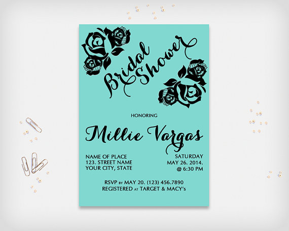 "Wedding - Bridal Shower Invitation Card, Turquoise with Black Rose Design, 5x7"" - Digital File, DIY Print"