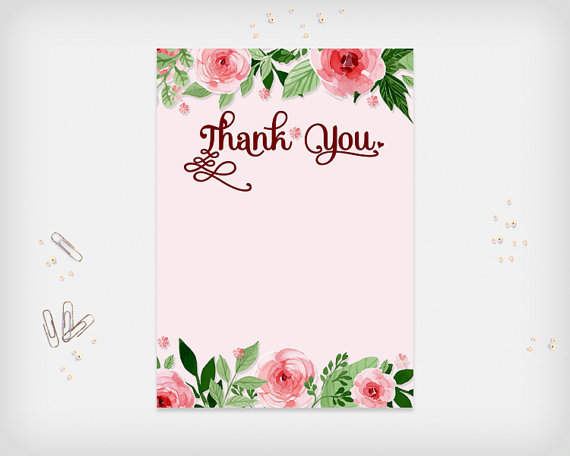 Printable thank you card pink flowers design 7x5 digital file printable thank you card pink flowers design 7x5 digital file diy print instant download m4hsunfo