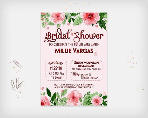 Bridal Shower Invitation Card Pink Flowers Design 5x7 Digital