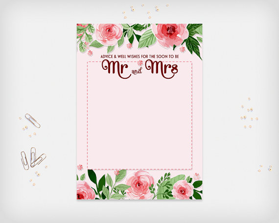 bridal shower advice well wishes card pink flowers design 7x5 digital file diy print instant download