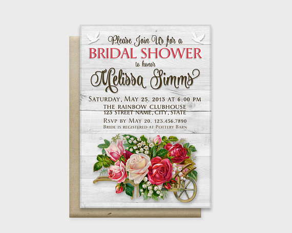 "Mariage - Rustic Chic Bridal Shower Invitation Card, Wood Background with Stylish Flowers, Red, 5x7"" - Digital File, DIY Print"
