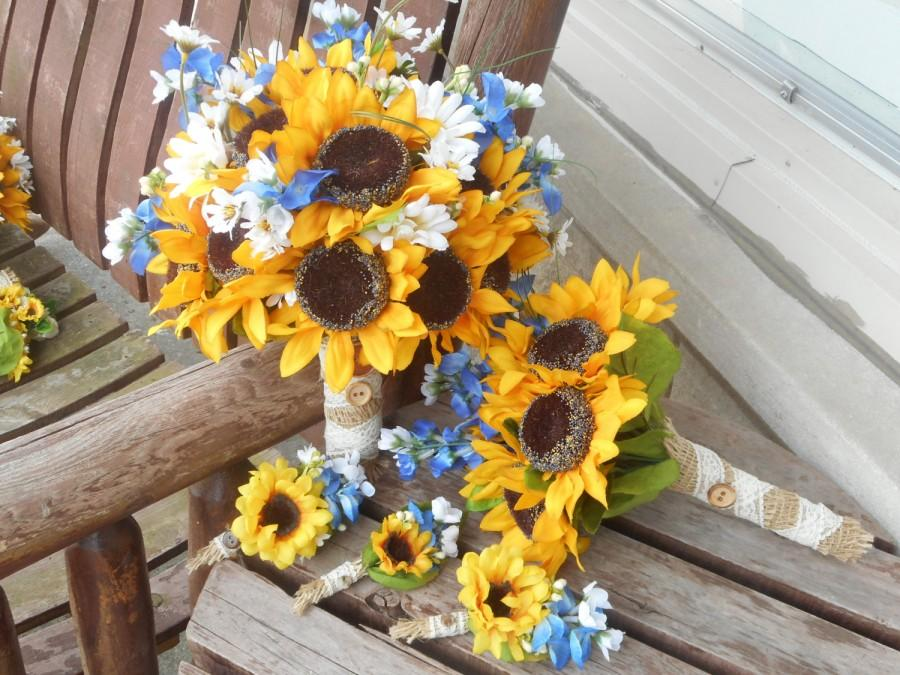 12 pc sunflowers and texas bluebonnets rustic wedding country sunflowers and texas bluebonnets rustic wedding country wedding silk bridal bouquet grooms bout 4 bridesmaid 4 groomsmen mightylinksfo