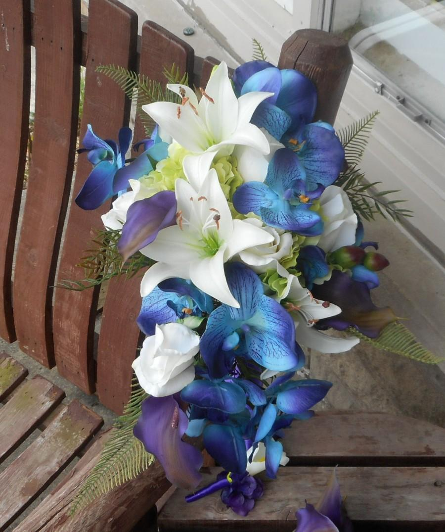 Destination or beach wedding real touch cascading bridal bouquet destination or beach wedding real touch cascading bridal bouquet purple teal and royal blue bouquet tropical flowers silk flowers mightylinksfo
