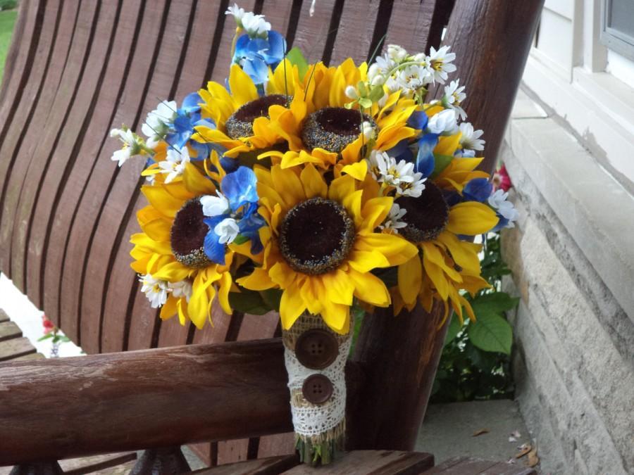 زفاف - Sunflower Bridal Bouquet with Texas Bluebonnets / Country Wedding / Rustic Wedding Bouquet / Silk Bridal Bouquet / Sunflower Wedding Flowers