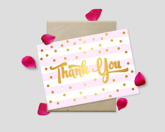 """Wedding - Printable Thank You Cards, Gold Polkadots on Striped Background, 7x5"""" - Digital File, DIY Print - Instant Download"""