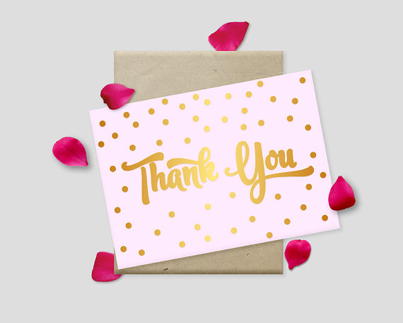 "Wedding - Printable Thank You Cards, Gold Polkadots on Pink Background, 7x5"" - Digital File, DIY Print - Instant Download"