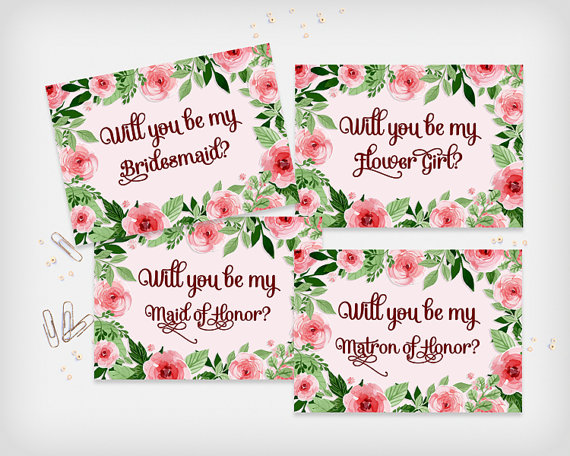 """Wedding - Will you be my Bridesmaid? Maid of Honor, Matron of Honor, Printable Proposal Card Set, 7x5"""" - Digital File, DIY Print - Instant Download"""