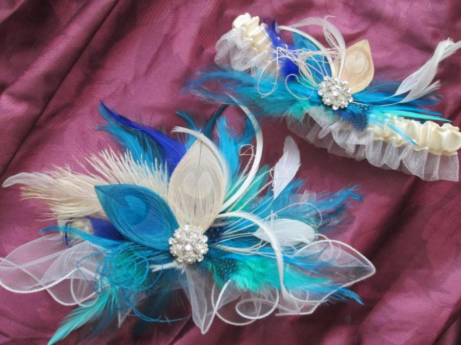 Wedding - PEACOCK Wedding Garter Set, Teal / Turquoise / Aqua Garter, Something Blue Feather Garter, Tulle Bridal Garters, Gatsby 20s Inspiration