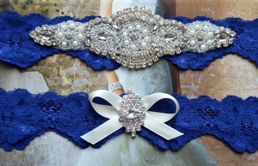Свадьба - Wedding Garter Set,Bridal Garter Set,Blue Lace Garter, Keepsake Garter, Toss Garter, Crystal Embellishment Blue, Something Blue Garter