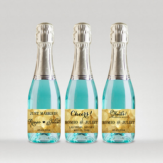 Party Favor Champagne Bottle Labels, Customized - Wedding ...