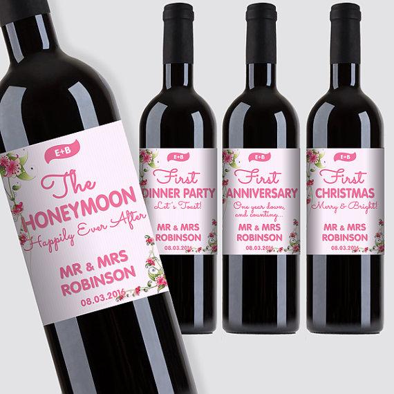 "Hochzeit - Customized ""First"" Marriage Milestones Wine Bottle Label Set - Newlyweds Gift - Flowers Design - DIY Print, Printable PDF"