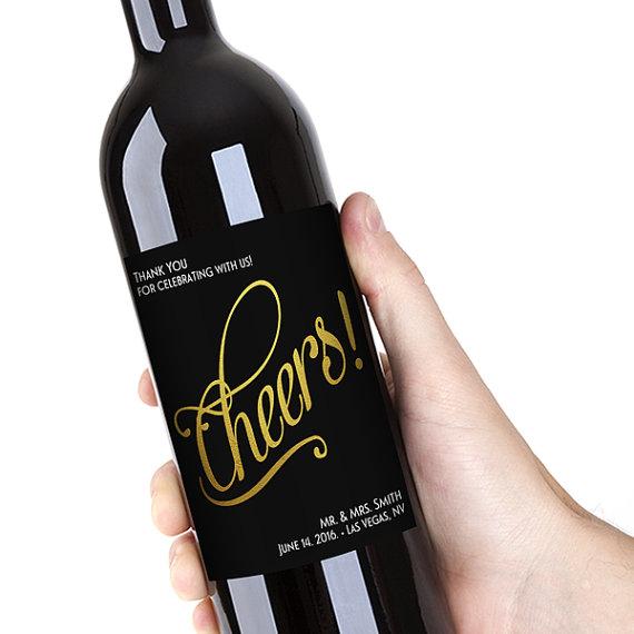 Hochzeit - Black & Gold Wine Bottle Labels, Customized - Bridal Shower, Wedding, Engagement, Anniversary Party - DIY Print, Printable PDF