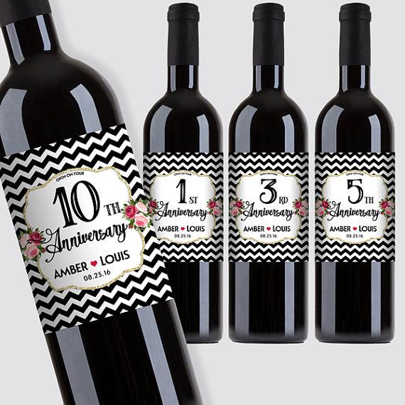 Printable Wine Bottle Labels: Custom Marriage Milestones, Anniversary Wine Bottle Label