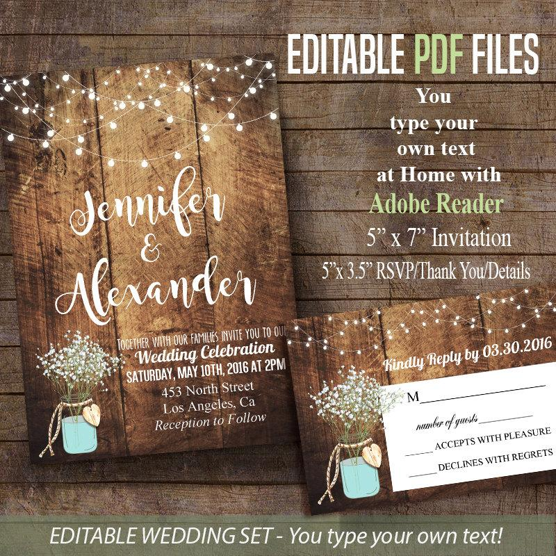 Printable Wedding Invitation Rustic Barn Wedding Editable PDF File