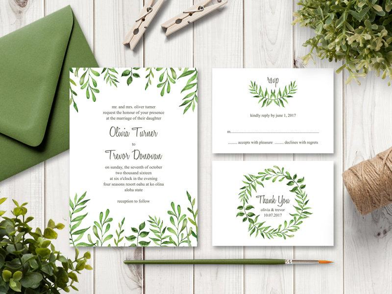 watercolor wedding invitation set lovely leaves green printable