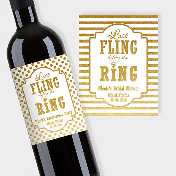 Mariage - Bridal Shower Party Wine Bottle Labels, Customized - Last Fling before the Ring - Gold & White - DIY Print, Printable PDF