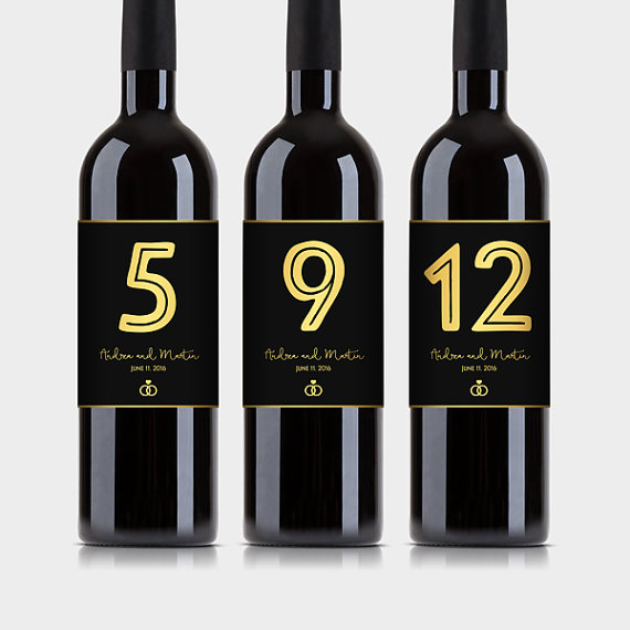 Wedding Engagement Wine Label Pdf: Customized Wine Bottle Table Numbers, Black & Gold Wine