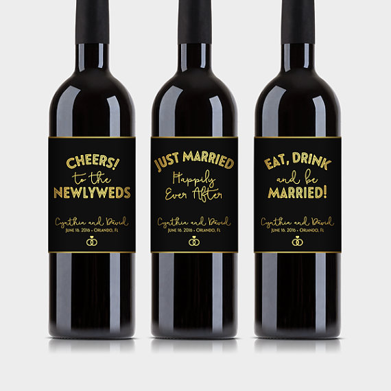 photo regarding Gold Printable Labels identified as Marriage Get together Wine Bottle Labels, Custom-made - Stylish Black