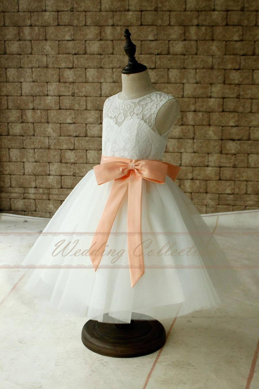 Wedding - Ivory Lace Tulle Flower Girl Dress With Peach Sash and Bow Baby Dress