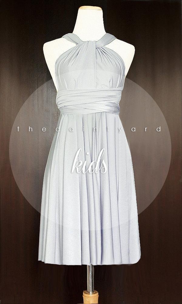 Wedding - KIDS Silver Bridesmaid Dress Convertible Dress Infinity Dress Multiway Dress Wrap Dress Twist Dress Flower Girl Dress