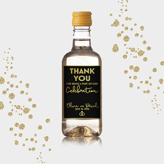 Thank You Party Favor Mini Wine Bottle Labels Customized Gold - Mini wine bottle labels templates