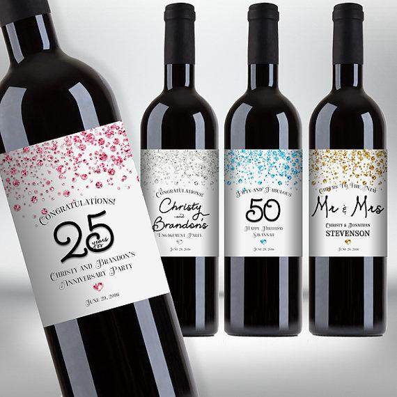Printable Wine Bottle Labels: Customized Confetti Glitter Wine Bottle Labels