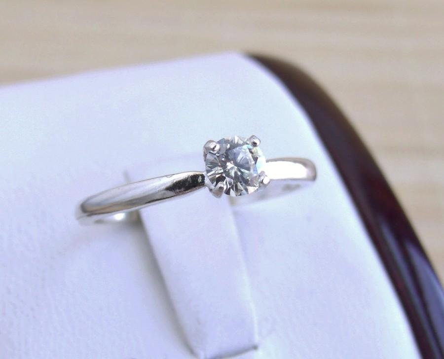Hochzeit - Moissanite Solitaire Ring Sterling Silver Made To Order