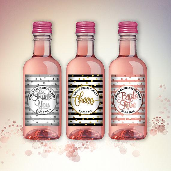 Hochzeit - Bridal Shower Party Mini Wine Bottle Labels, Customized - Black-White-Gold, Silver or Rose Mini Wine Labels - DIY Print, Printable PDF