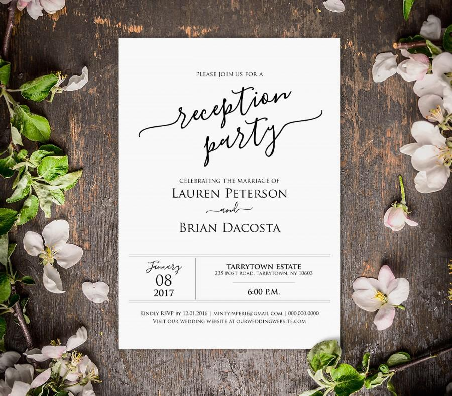 Boda - Wedding Reception Invitation, Reception Party Printable, Wedding Invite, Editable Template, INSTANT DOWNLOAD, PDF File, Digital
