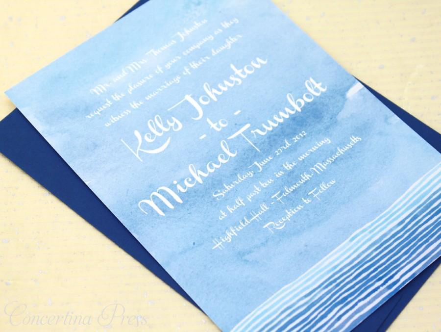 watercolor wedding invitations blue watercolor invitations ocean
