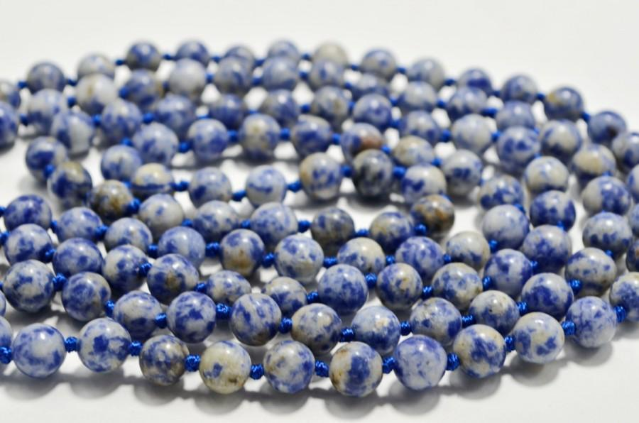 Hochzeit - Blue Sodalite Genuine Gemstone Jewelry Statement Art Deco Long Necklace, Modern Beaded Holiday Fashion Necklace, Valentine's Gift for Her