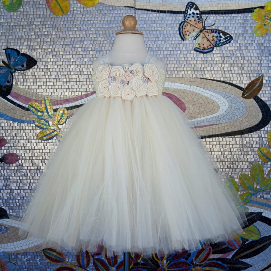 Wedding - Flower Girl Dress, Ivory Tutu Dress, Ivory Flower Girl Dress, Tutu Flower Girl Dress, Girls Ivory dress, Baptism Dress, Communion Dress
