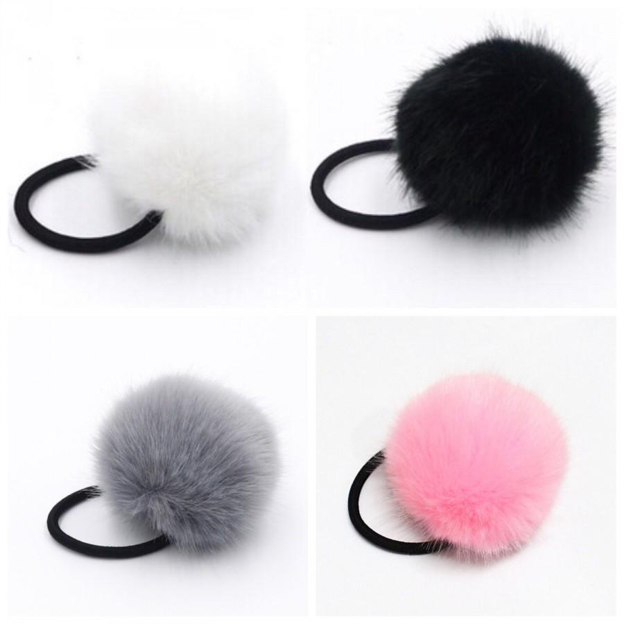 Mariage - Hair accessories ties faux fur pompom white pink hair ties fur pom pom hair bows party elastic hair ties