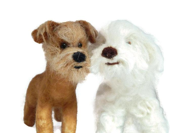 Mariage - Personalised Wedding cake topper, TWO of your pets recreated for your wedding day. Dog Ring Bearers, needle felted Dog sculpture