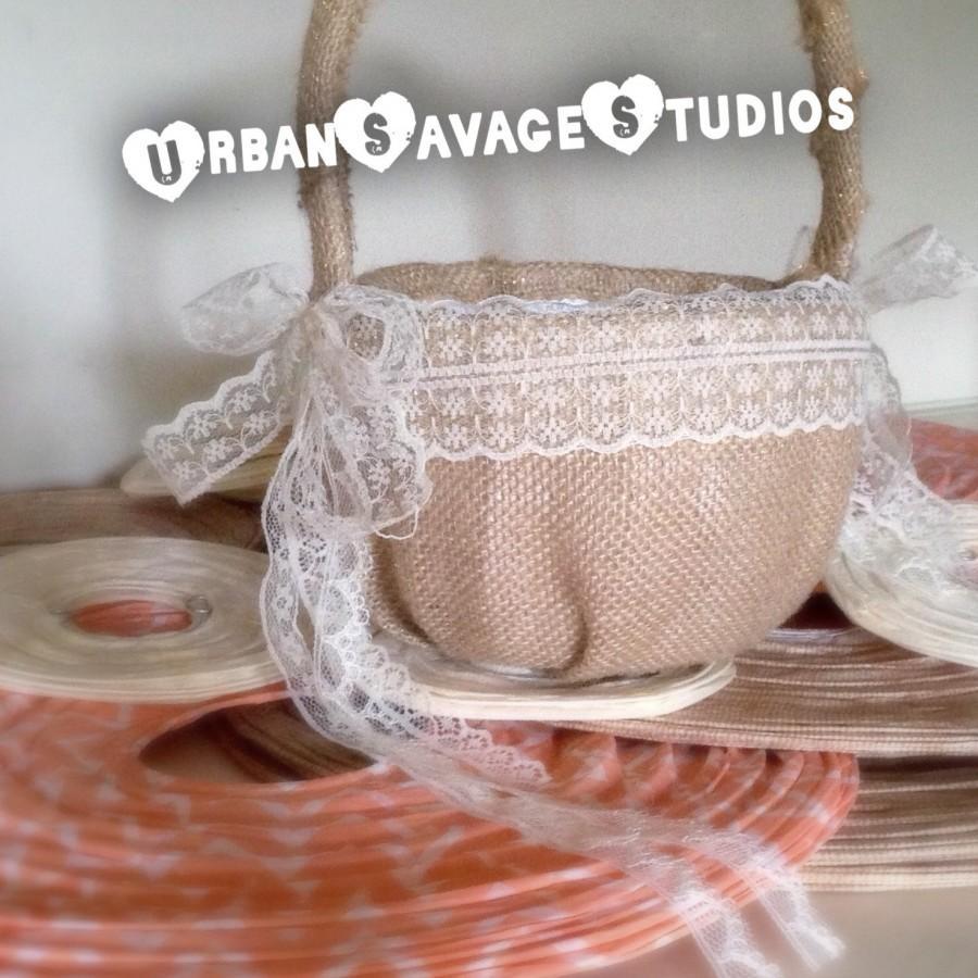 Hochzeit - Rustic Burlap & Lace Flower Girl Petal Basket