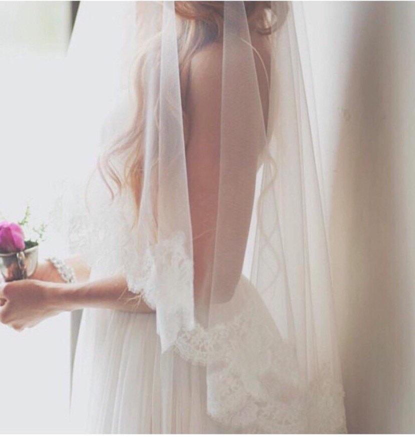 Hochzeit - Lace Mantilla, Bridal Veil, Drop Veil, Mantilla ,Alencon Lace Veil, Mantilla Veil ,Lace Mantilla Veil ,Lace Drop Veil, Wedding Veil- TANIA
