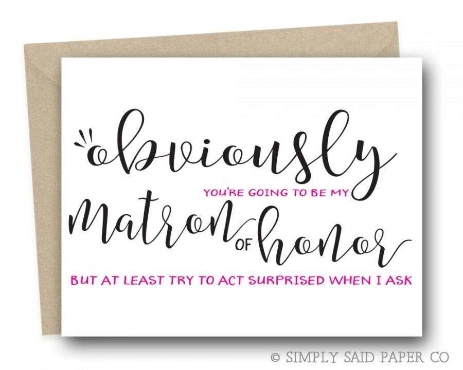 greeting card matron of honor ask card bridal party cards will