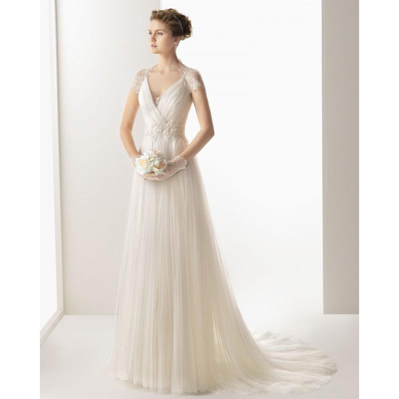 Wedding - Charming A-line V-neck Short Sleeve Buttons Lace Sweep/Brush Train Tulle Wedding Dresses - Dressesular.com