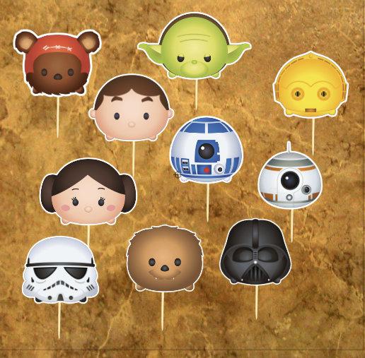 Свадьба - Star Wars Inspiration Cupcacke Toppers - Tsum Tsum Star Wars Cake Toppers - Wedding -  Baby Shower