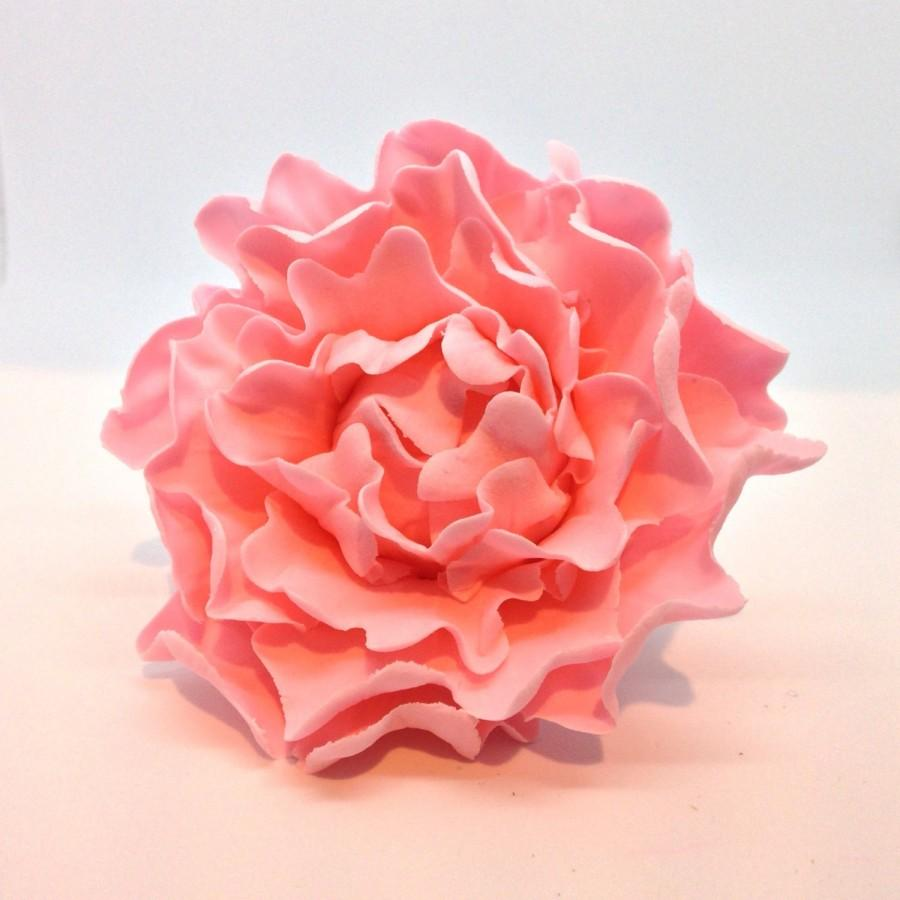 Mariage - Small Pink Peony READY TO SHIP Sugar Flower with Black Center for cake toppers, wedding, gumpaste decorations