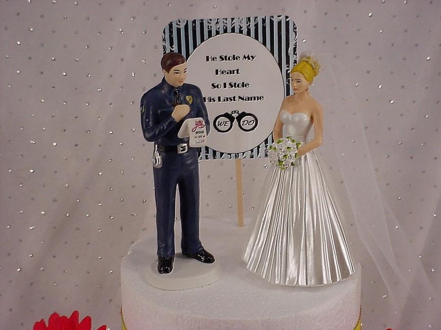 Wedding - Elegant Bride with Bridal Veil and Policeman Wedding Cake Topper Law Enforcer Romantic Police Officer  Couple We Do Figurines Mr Mrs - P3A