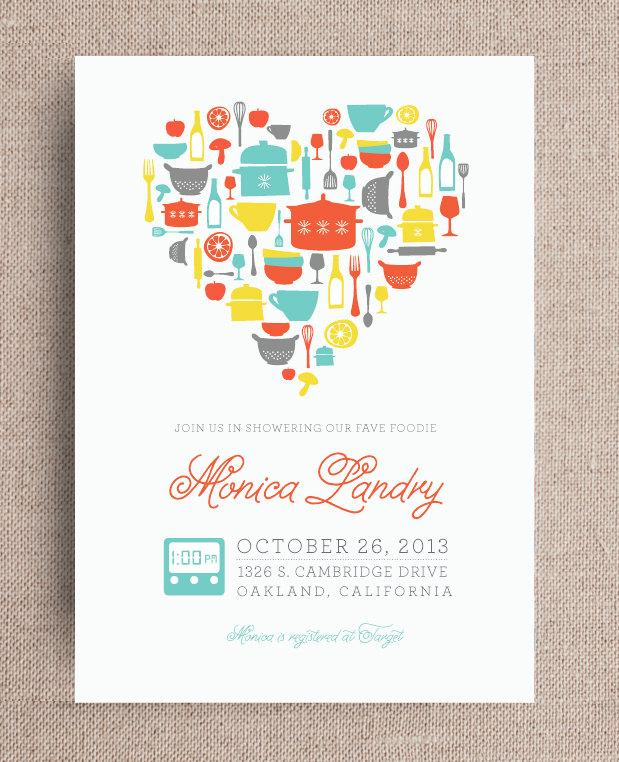 Mariage - Kitchen Theme Bridal Shower Invitation (Digital File, Printable File)