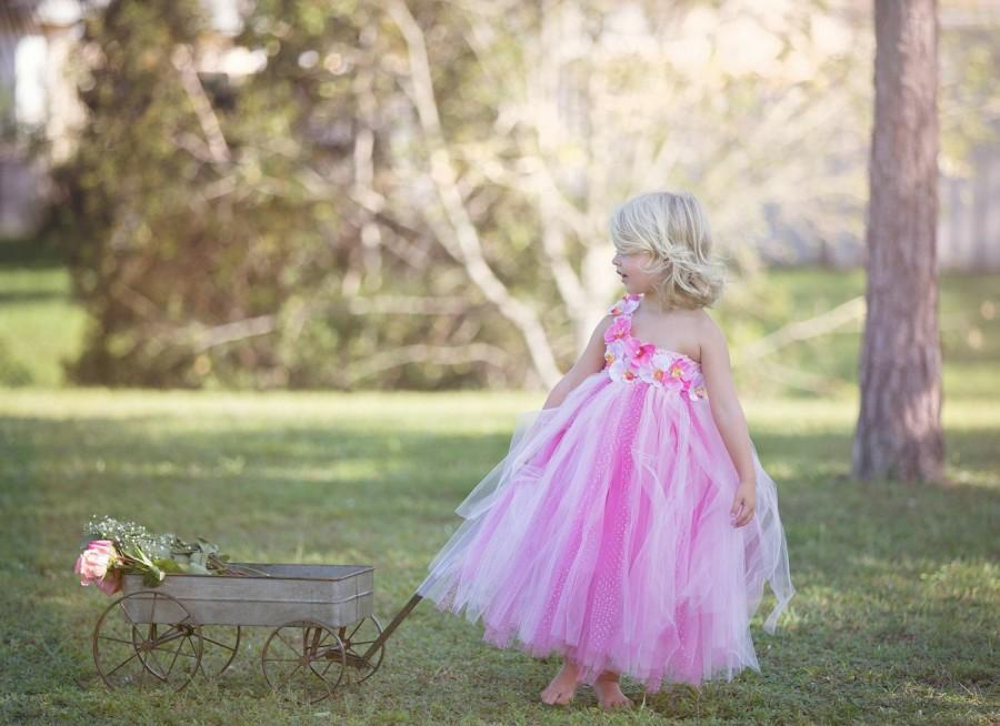 Свадьба - Pink Tutu Dress, Flower Girl Dress, Pink Orchids, Birthday Tutu, Hot Pink Tutu, Flower Girl Dresses, Party Tutu Dress, Birthday Dress