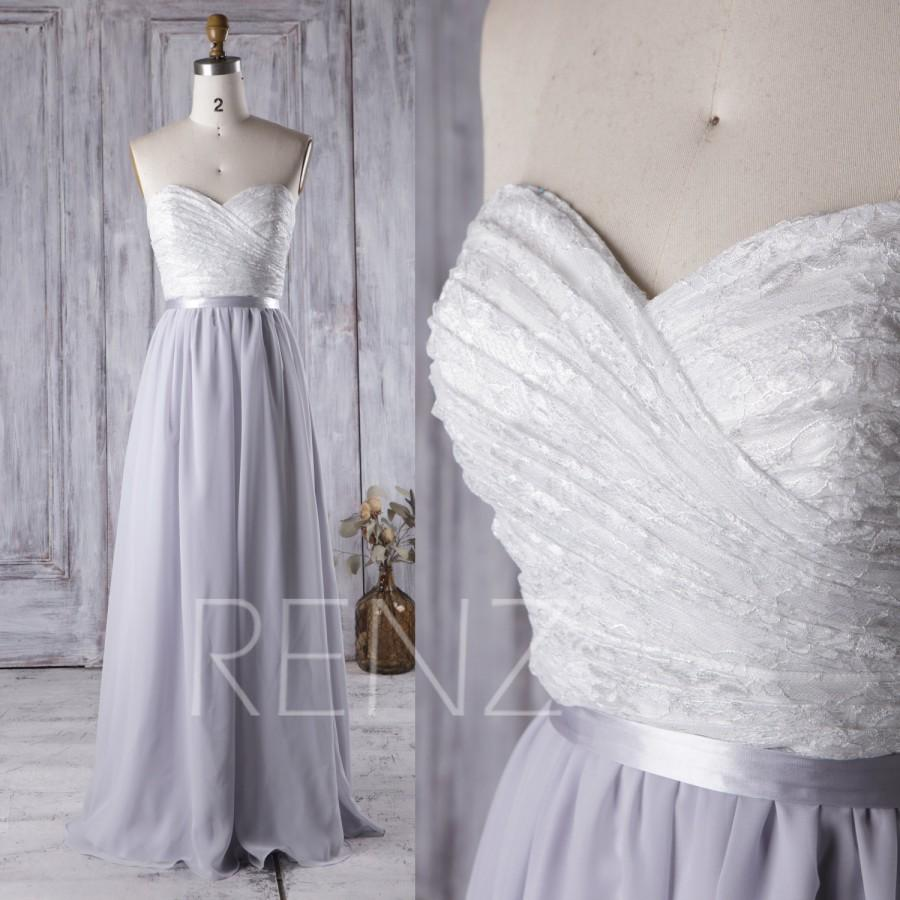 Wedding - 2016 White Lace Sweetheart Bridesmaid Dress Long, Light Gray Chiffon Wedding Dress, Strapless Prom Dress, Open Back Evening Gown Full (J086)