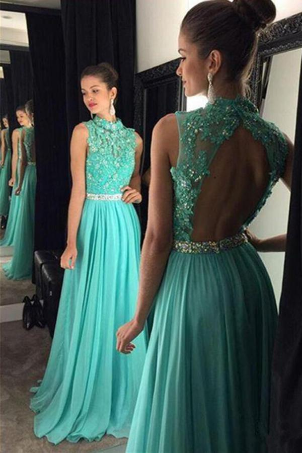 Свадьба - Dramatic Round Neck Open Back Floor-Length Turquoise Prom Dress with Beading Appliques